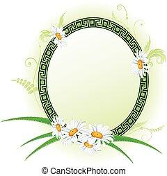 frame with aloe and daisy