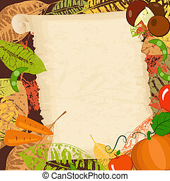 frame with autumn vegetables and leaves