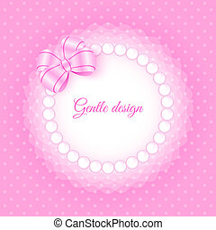 Frame with beads and bow - Gentle frame with beads and bow. ...