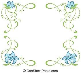 Frame with beautiful blue lily flowers