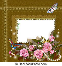 Frame with beautiful pink roses