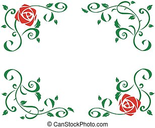 Frame with beautiful red rose flowers