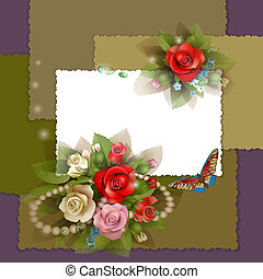 Frame with beautiful roses