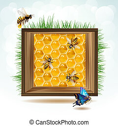 Frame with bees