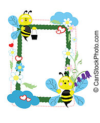Frame with bees ,vector.