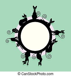 Frame with black cats