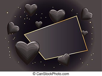frame with black hearts