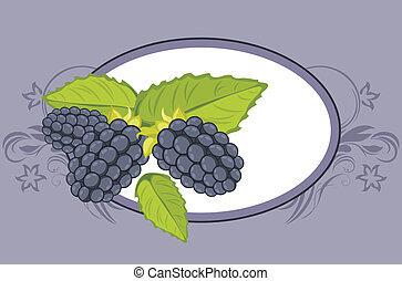 Frame with blackberry. Label