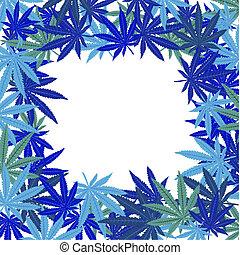 Frame with blue marijuana leaves