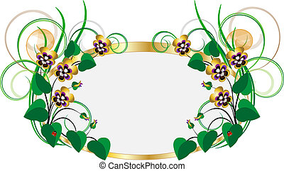 Frame with bouquets of violets-pans