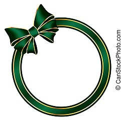 frame with bow isolated on white - Green frame ring with...