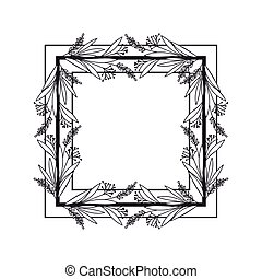 frame with branches and leaves