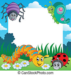 Frame with bugs theme 1 - vector illustration.