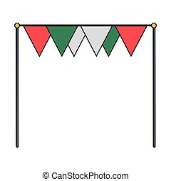 frame with bunting decoration festival isolated icon white background