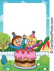 Frame with cake and two kids celebrating