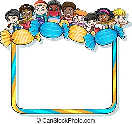 Frame with candies and kids