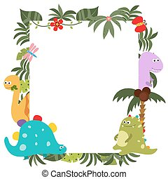 Frame with cartoon dinosaurs
