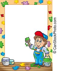 Frame with cartoon house painter - color illustration.