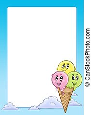 Frame with cartoon ice cream