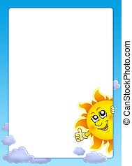 Frame with cartoon lurking Sun