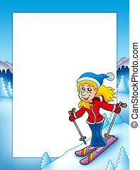 Frame with cartoon skiing woman