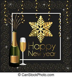 frame with champagne bottle and glass to new year
