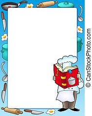 Frame with chef and book - color illustration.