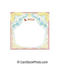 frame with Christmas Sleigh of Santa