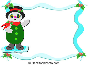 Frame with Christmas Snowman