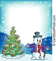 Frame with Christmas tree and snowman 1