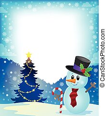 Frame with Christmas tree and snowman 2