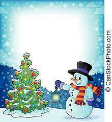 Frame with Christmas tree and snowman 3