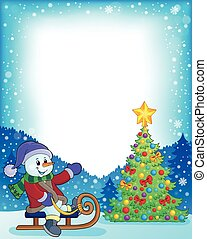 Frame with Christmas tree and snowman 4