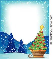 Frame with Christmas tree on sledge