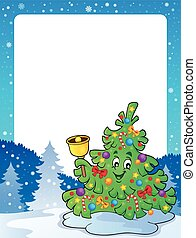 Frame with Christmas tree topic 2