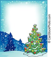 Frame with Christmas tree topic 4