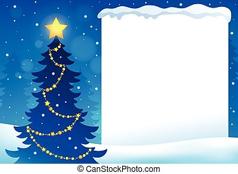Frame with Christmas tree topic 6
