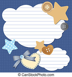 frame with clouds - frame with paper clouds and scrapbook...