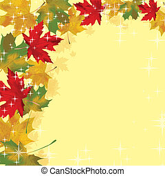 Frame with colored autumn leaves. vector illustration