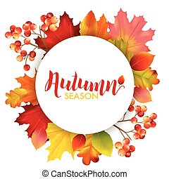 Frame with Colorful Autumn Leaves in Vector with place for Text