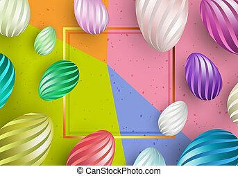 frame with colorful background and eggs in stripes