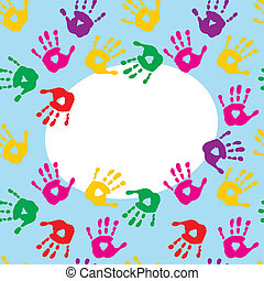 Frame with colorful prints of children's hands