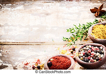 Frame with colorful spices