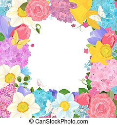 frame with colorful spring flowers for your design
