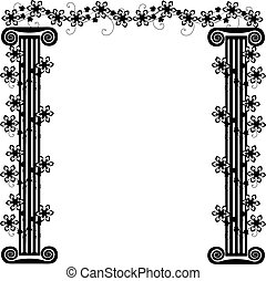 frame with columns and flowers