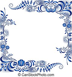 Frame with corner floral blue patterns in the ethnic style of painting on porcelain.