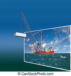 Frame with crane