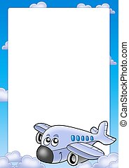 Frame with cute airplane and clouds - color illustration.