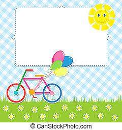 Frame with cute bike