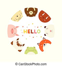 Frame with cute funny inquisitive animals - Frame with cute...